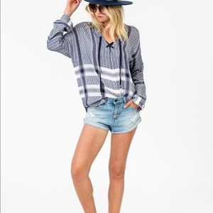 Rails Lily Lace Up Jacquard Tunic Top Blue White